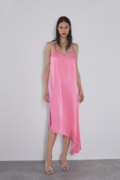 Vestido acetinado com bolinhas em 2020   Vestido cetim