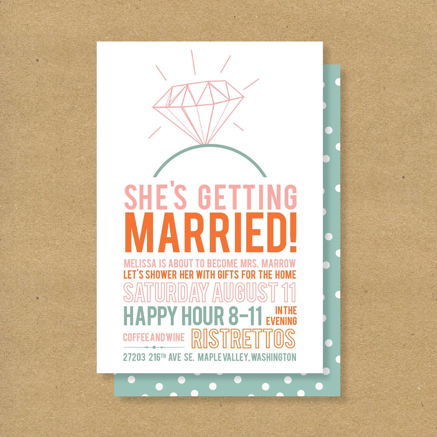 Bridal Shower Invitation Printable Diamonds $16 00 via Etsy