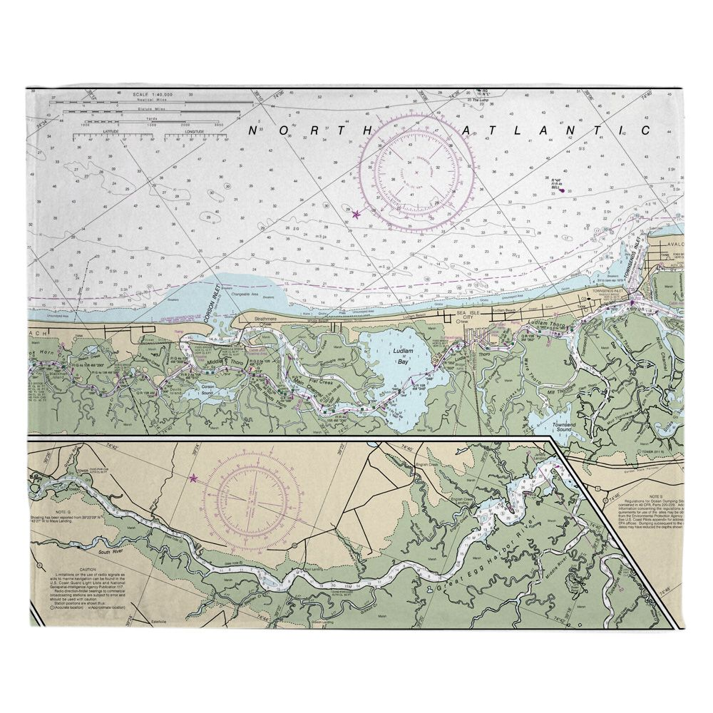 Nj Corson Inlet Sea Isle City Nj Nautical Chart Blanket Sea Isle City Sea Isle Nautical Chart