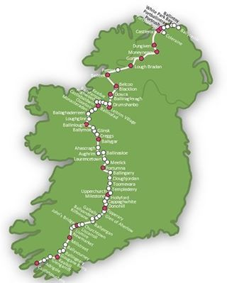 Map of the 900km Ireland Way hiking trail Guidebook available in