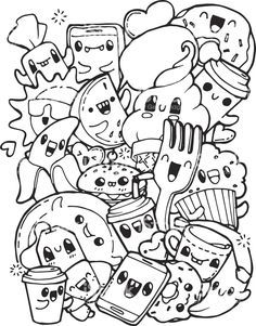Awesome Kawaii Food Coloring Pages Luxury The Cartoon Sea Animals Are So Fun For Kids Cute Coloring Pages Food Coloring Pages Doodle Coloring