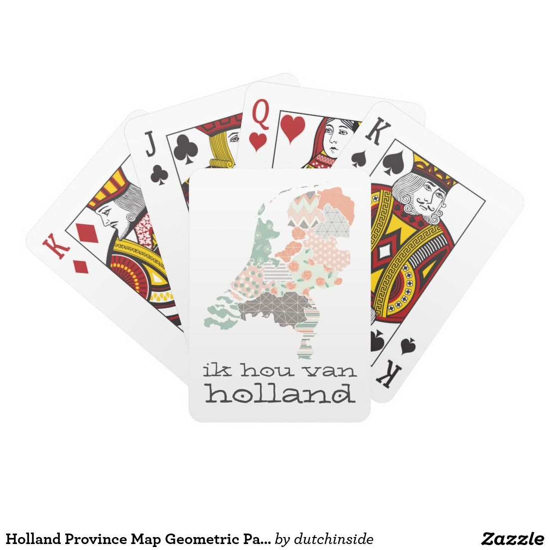 Holland Province Map Geometric Patchwork Style Poker Cards By