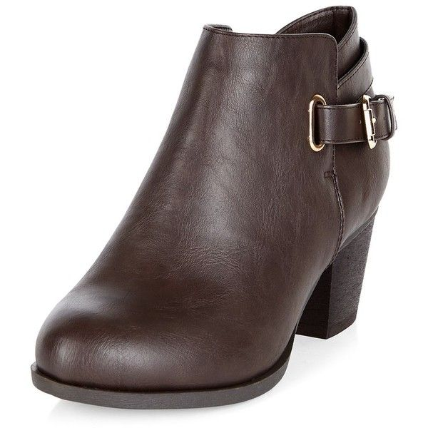 54da532423b2 Wide Fit Dark Brown D-Ring Ankle Boots ( 38) ❤ liked on Polyvore featuring  shoes
