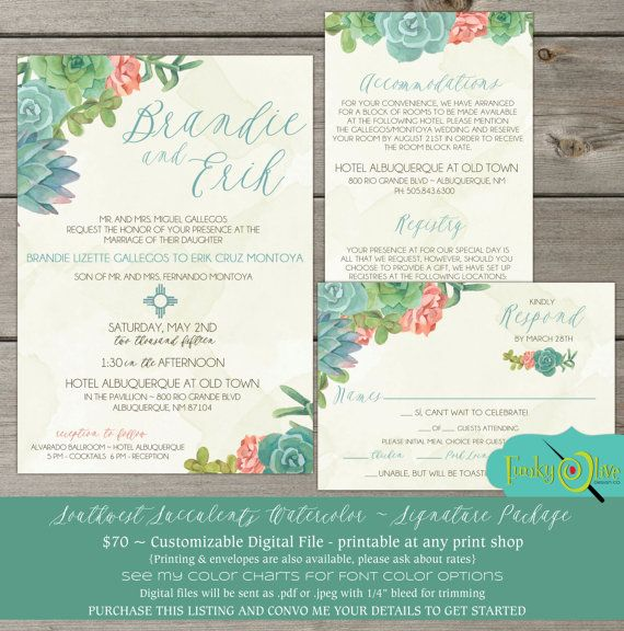 Wedding Invitation Southwest Succulents Watercolor Cactus RSVP