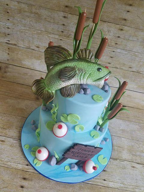 Gone Fishin Cake Fish Cake Fondant Bass Hope S Sweet Cakes Hopessweetcakes Com Fish Cake Birthday 80th Birthday Cake For Men Birthday Cakes For Men