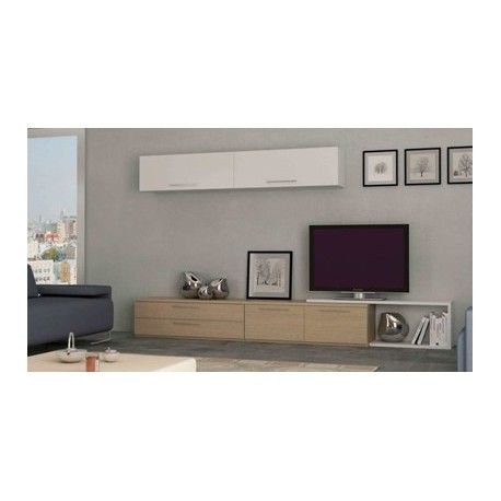 Conjunto mueble sal n 10 blanco brillo roble conjunto for Muebles modulos salon