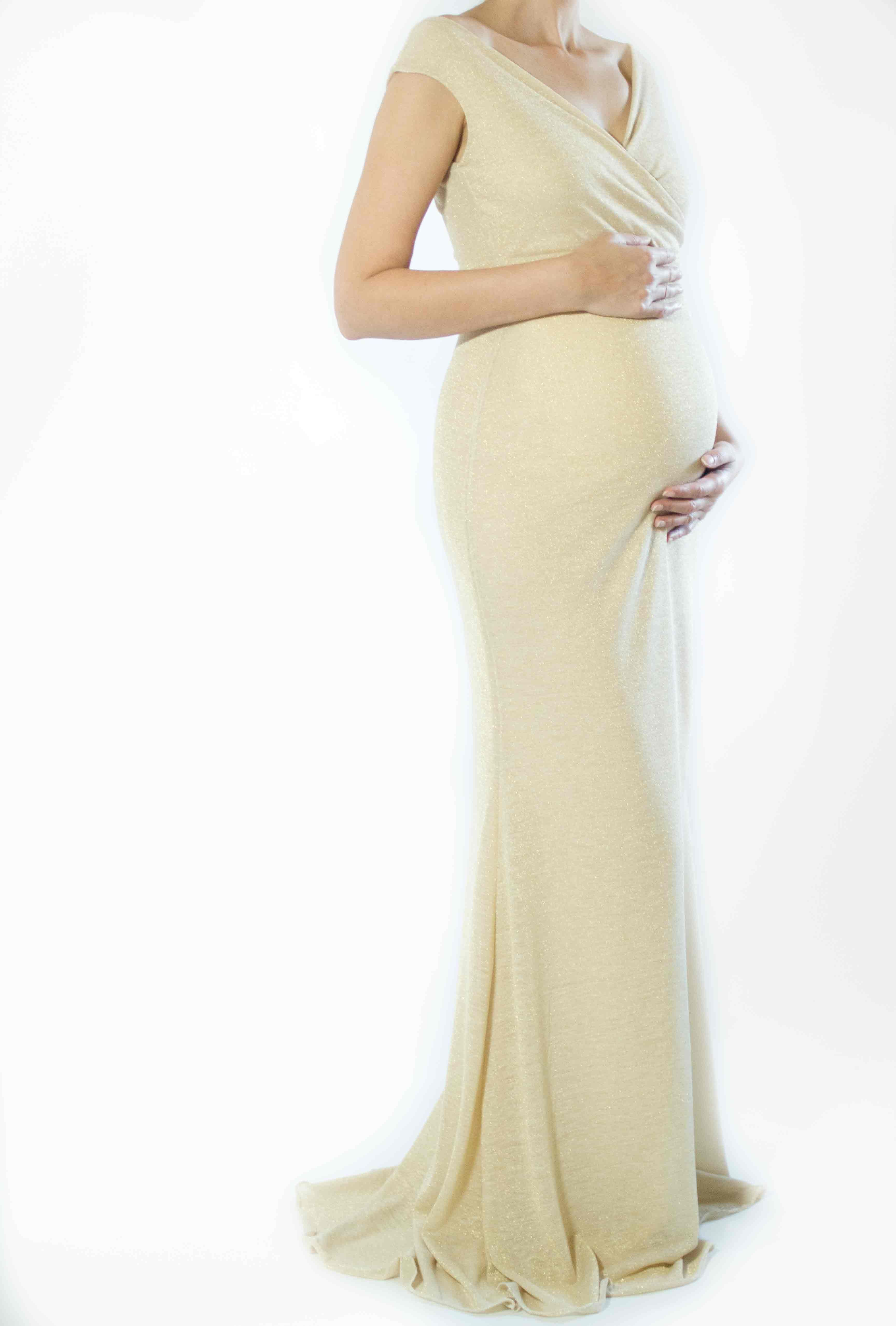 Gold Maternity Holiday Evening Dress, Holiday Evening Gown, New ...