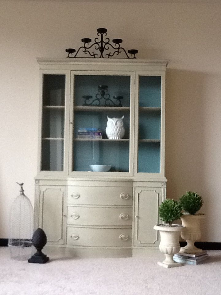 refinished china cabinet with annie sloan country grey and duck