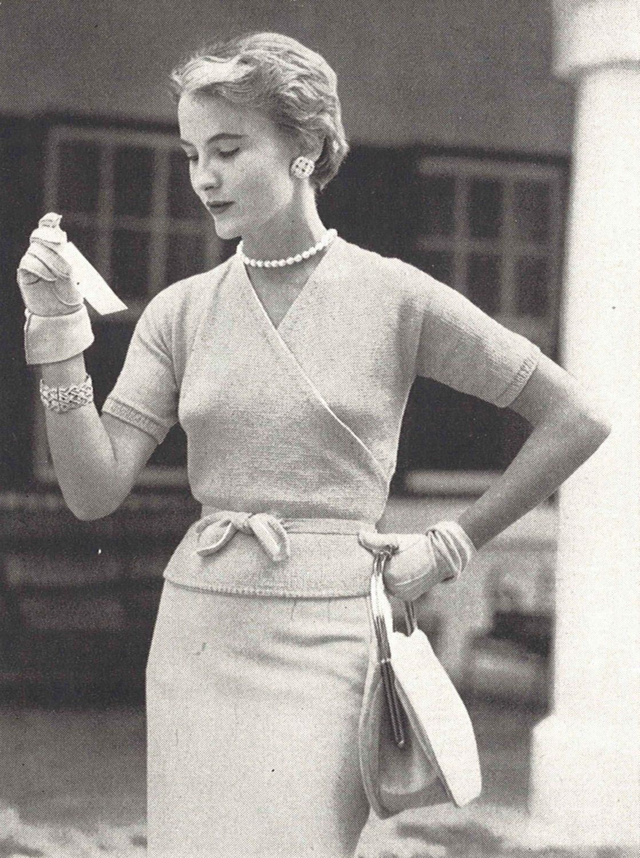 Cross My Heart • 1950s Knitting Engagement Wraparound Cardigan Top ...