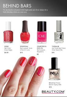 DIY nails with an electric red paired with bright pink and silver stripes for a look that plays tricks on your eyes. Visit Beauty.com for more DIY nail art.
