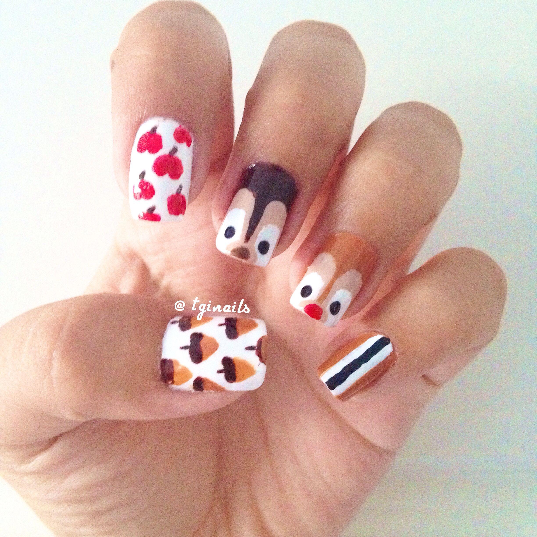 Chip and Dale nail art! | Nail art | Pinterest | Disney nails ...