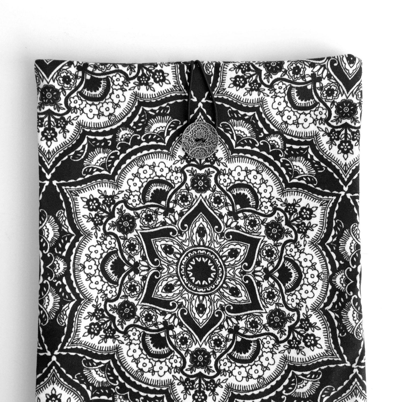 Mandala Ipad Air Case,Mandala Ipad Sleeve,Black Ipad Cover,Satin Cotton Ipad Case,Fabric Ipad Air Case,Black Book Case,Mandala İpad Case by GFMODE on Etsy