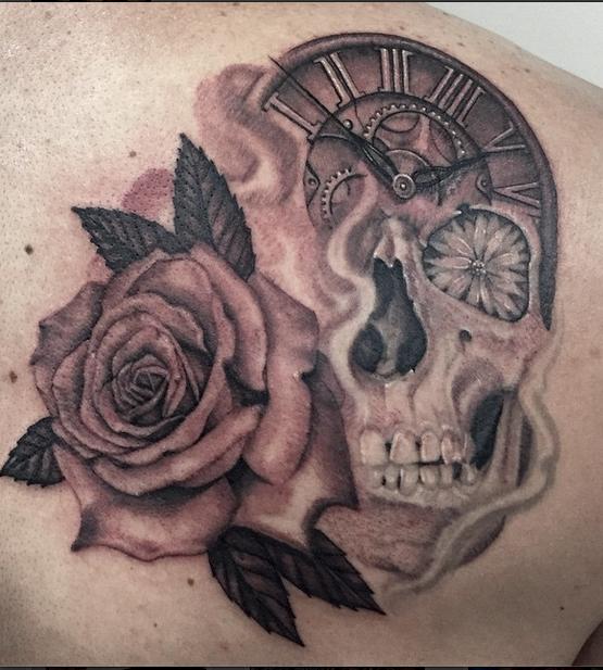 Calavera Rosa Y Reloj Skullclock With Rose Tatuajesdereyes