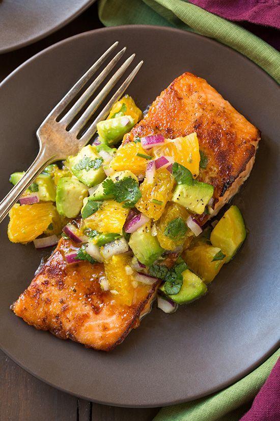 Glazed Salmon with Citrus Avocado Salsa by @cookingclassy