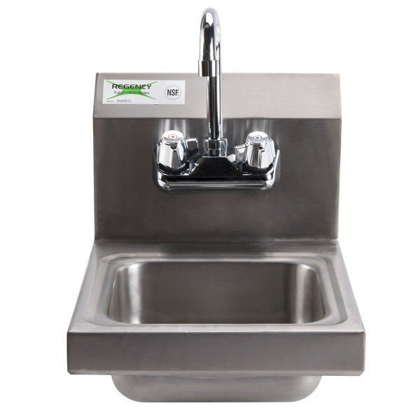 Regency 12 X 16 Wall Mounted Hand Sink With In 2020 Sink Faucet Stainless Steel Work Table