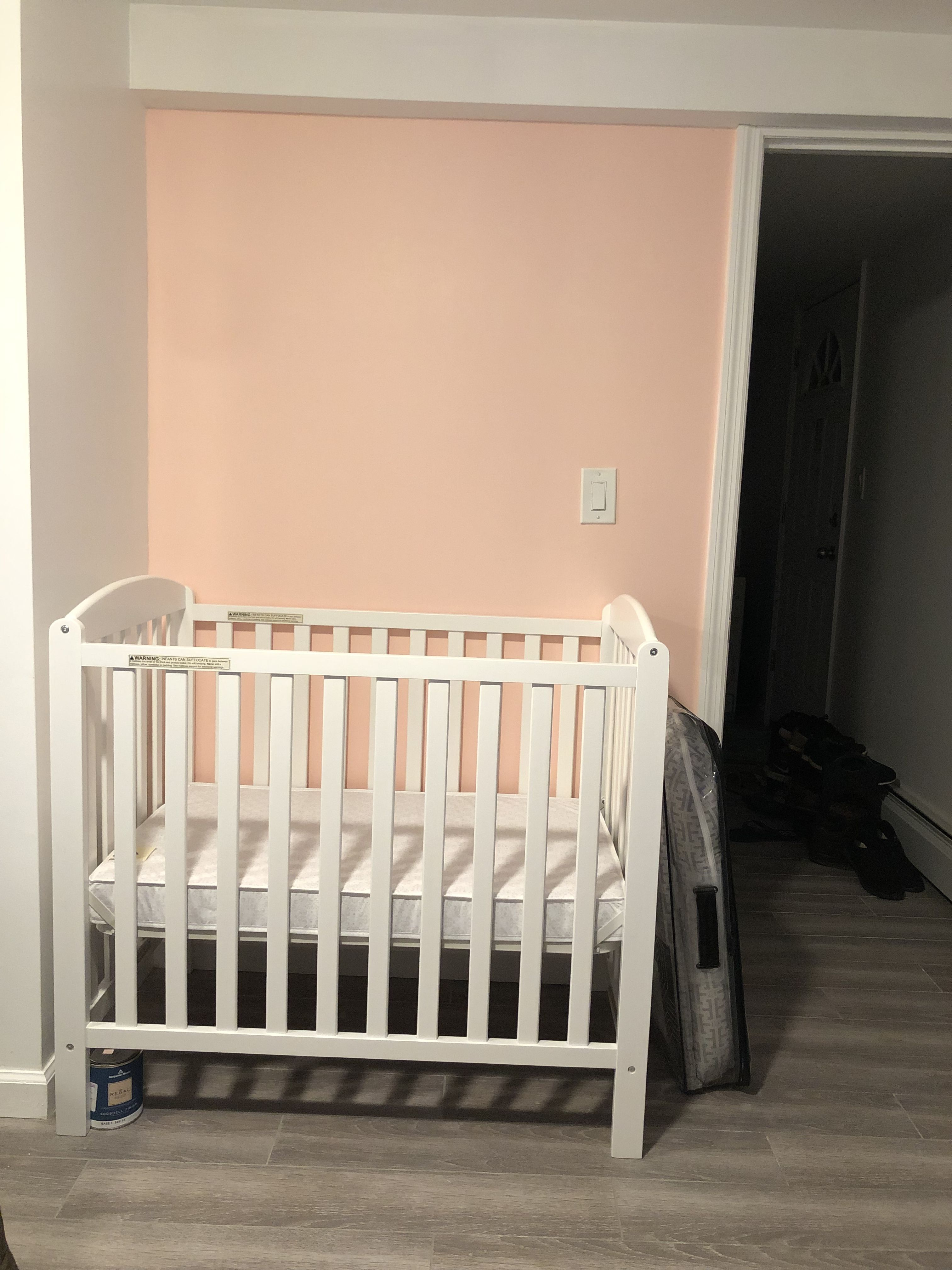 Here's my mini crib from delta children so easy to put ...