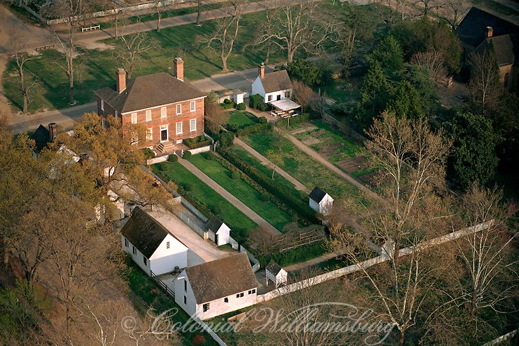 Aerial view of the Wythe House, outbuildings and