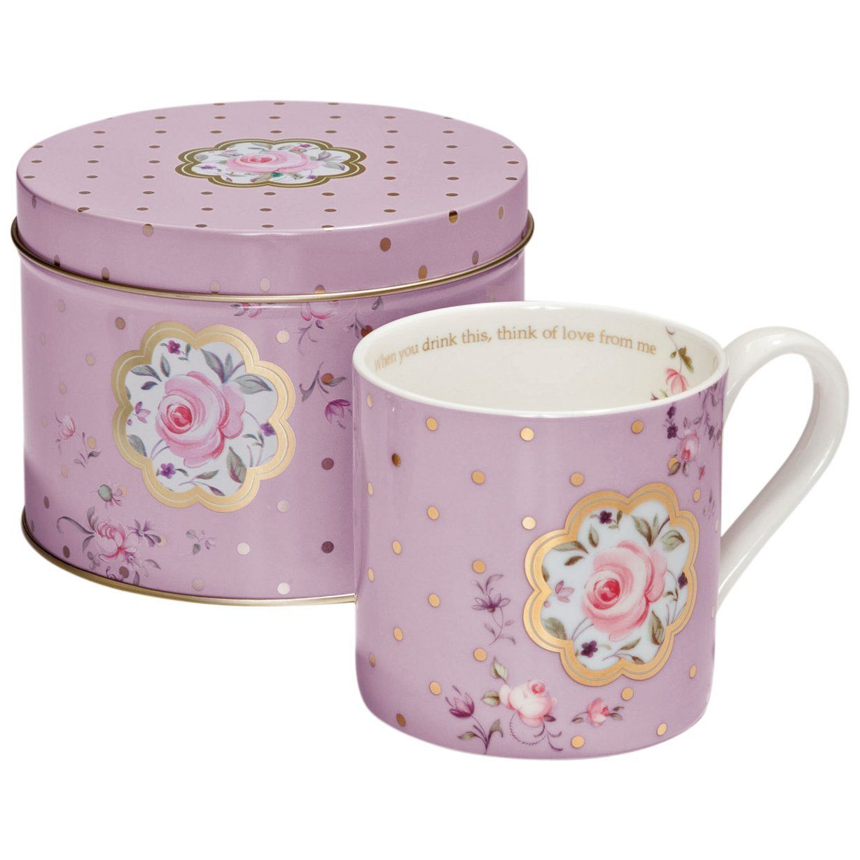 Royal Albert Lavender Rose Confetti Mug and Tin