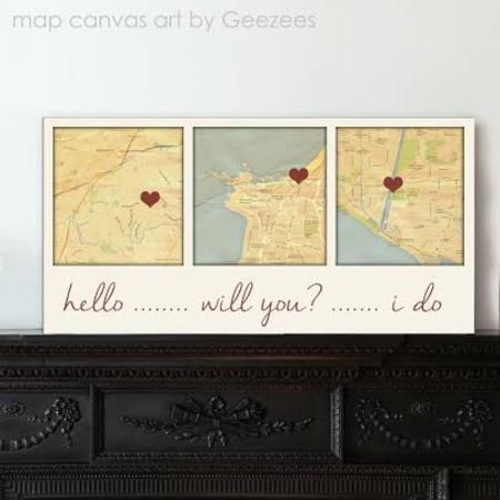 Custom Map Art using Three Location Wedding Gift