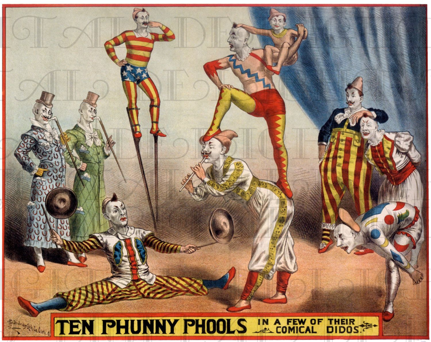 Antique CIRCUS Poster Vintage Clowns by DandDDigitalDelights