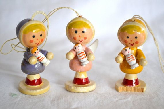 Vintage German Wooden Angel Ornaments By Bricolagehodgepodge