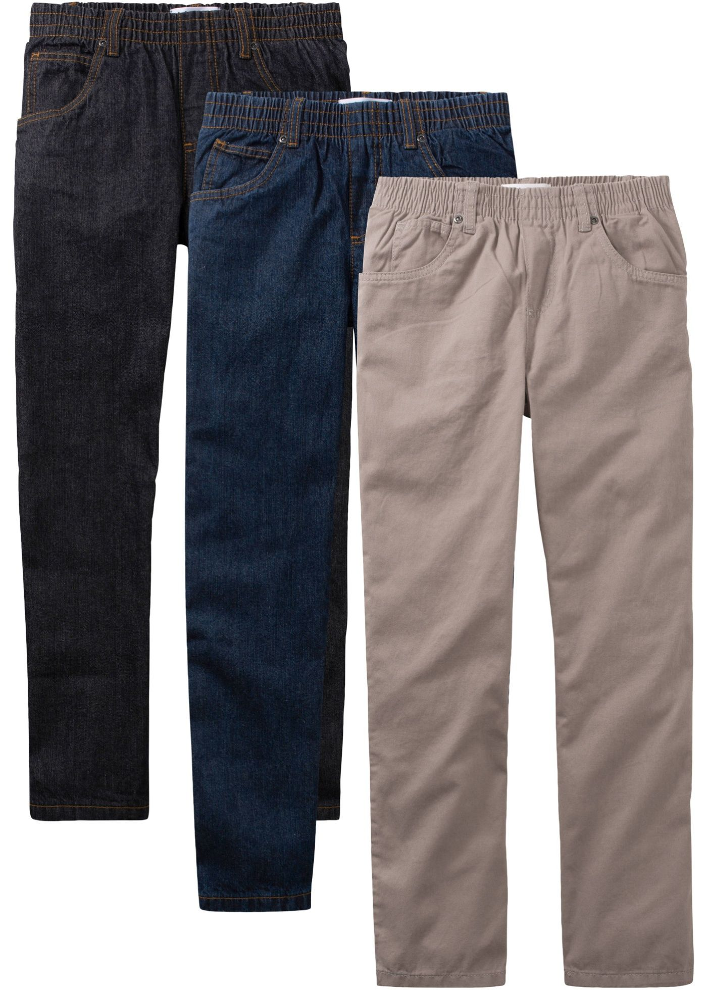 Lässige 5-Pocket-Jeans mit elastischem Bund – tarnfarben/dunkeloliv/blue stone, normal