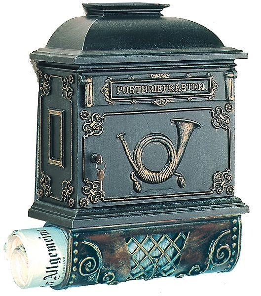 Dahlhaus Bugle Wall Mount German Mailbox With Newspaper Holder Newspaper Holder Antique Mailbox Traditional Mailboxes