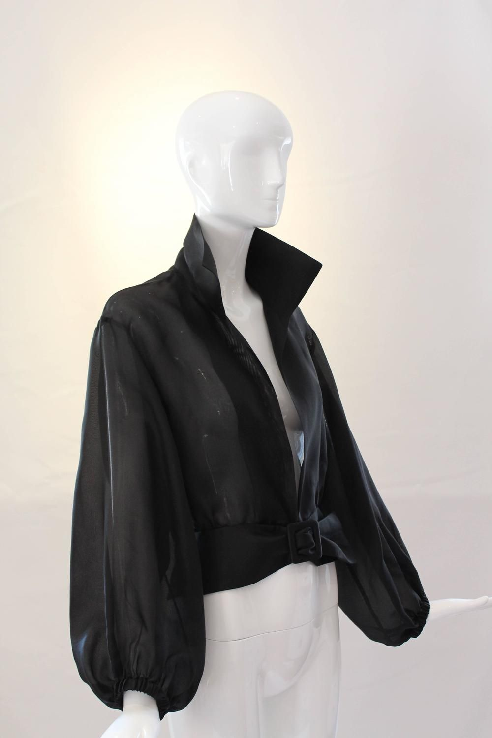 44a7141e3cb Yves Saint Laurent Rive Gauche Black Sheer Blouse Jacket | From a  collection of rare vintage