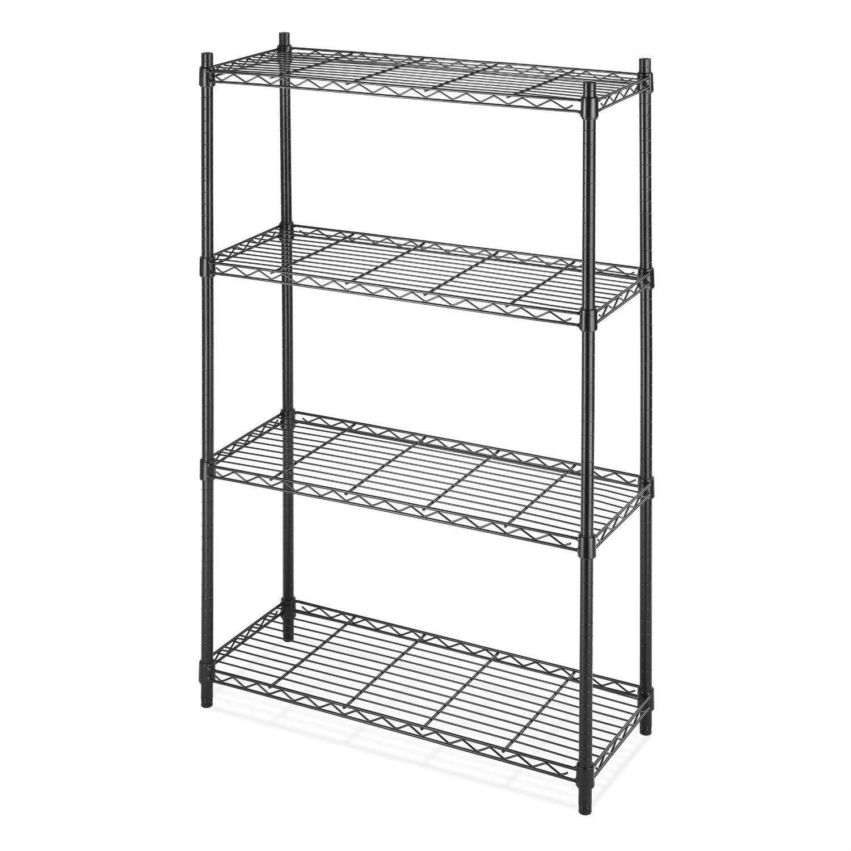 4-Shelf Black Metal Wire Shelving Unit - Each Shelf Holds up to 350 ...