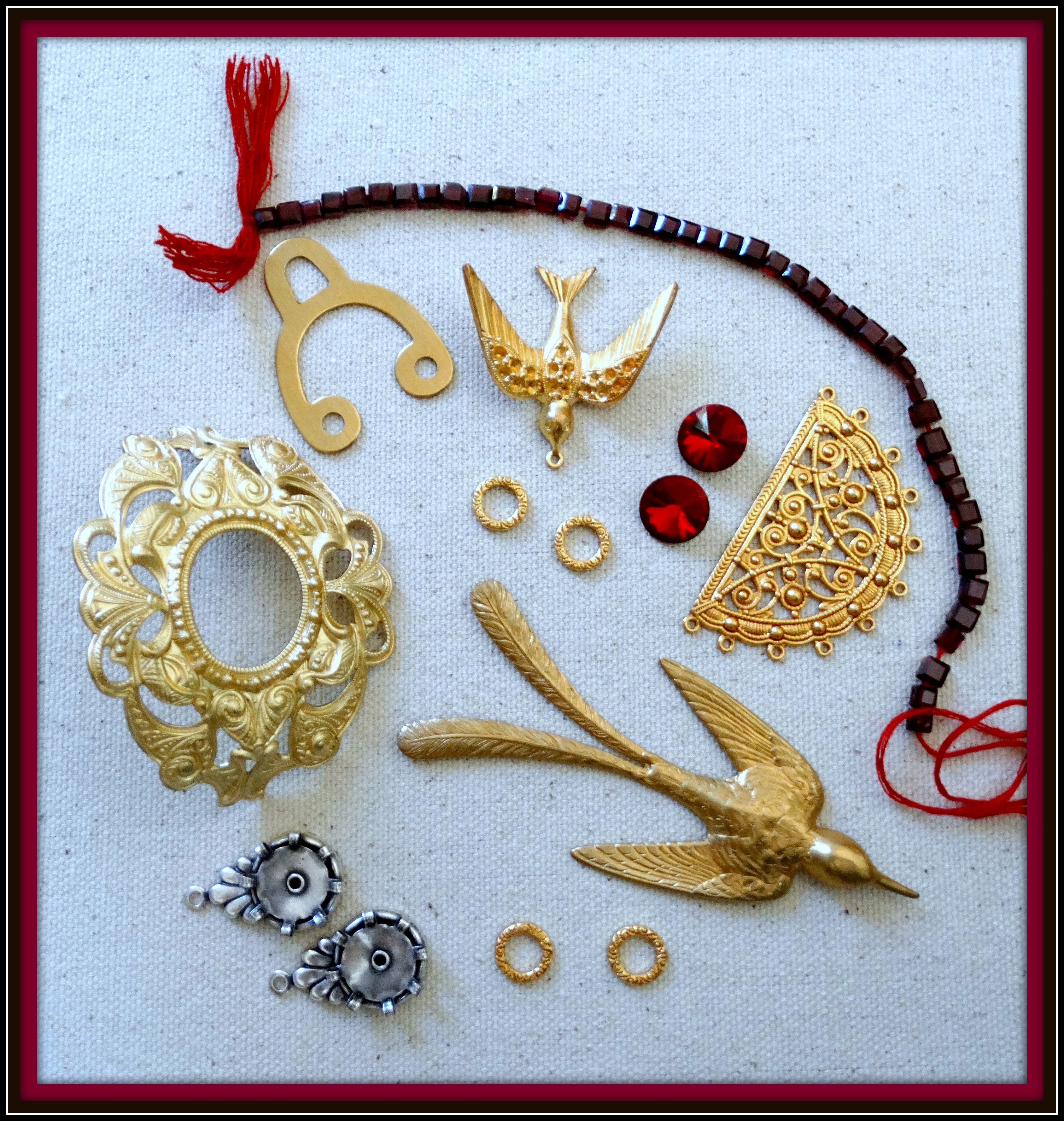 WTW 6-29-16 Garnets and Gold. Everything metal is B'Sue. Hope to squeeze out 5 projects from this table.