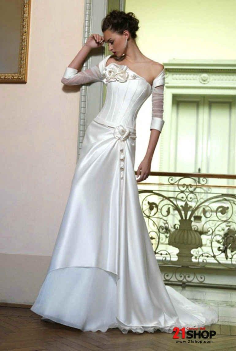 Satin strapless neckline aline princess silhouette wedding dress