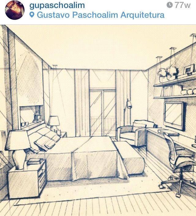 Desenho Em Quarto ~ Quarto de Casal desenho do Arquiteto Gustavo Paschoalim Fonte Instagram Ideias para a casa