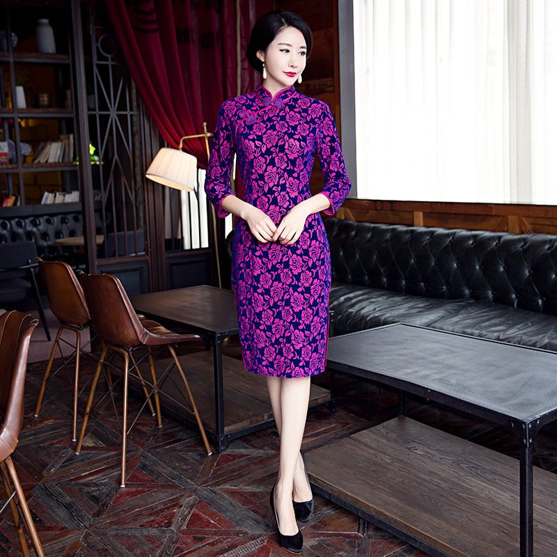e22209023 Purple-Slim-Traditional-Chinese-Women-Dress-Velvet-Print-Floral-Sexy ...