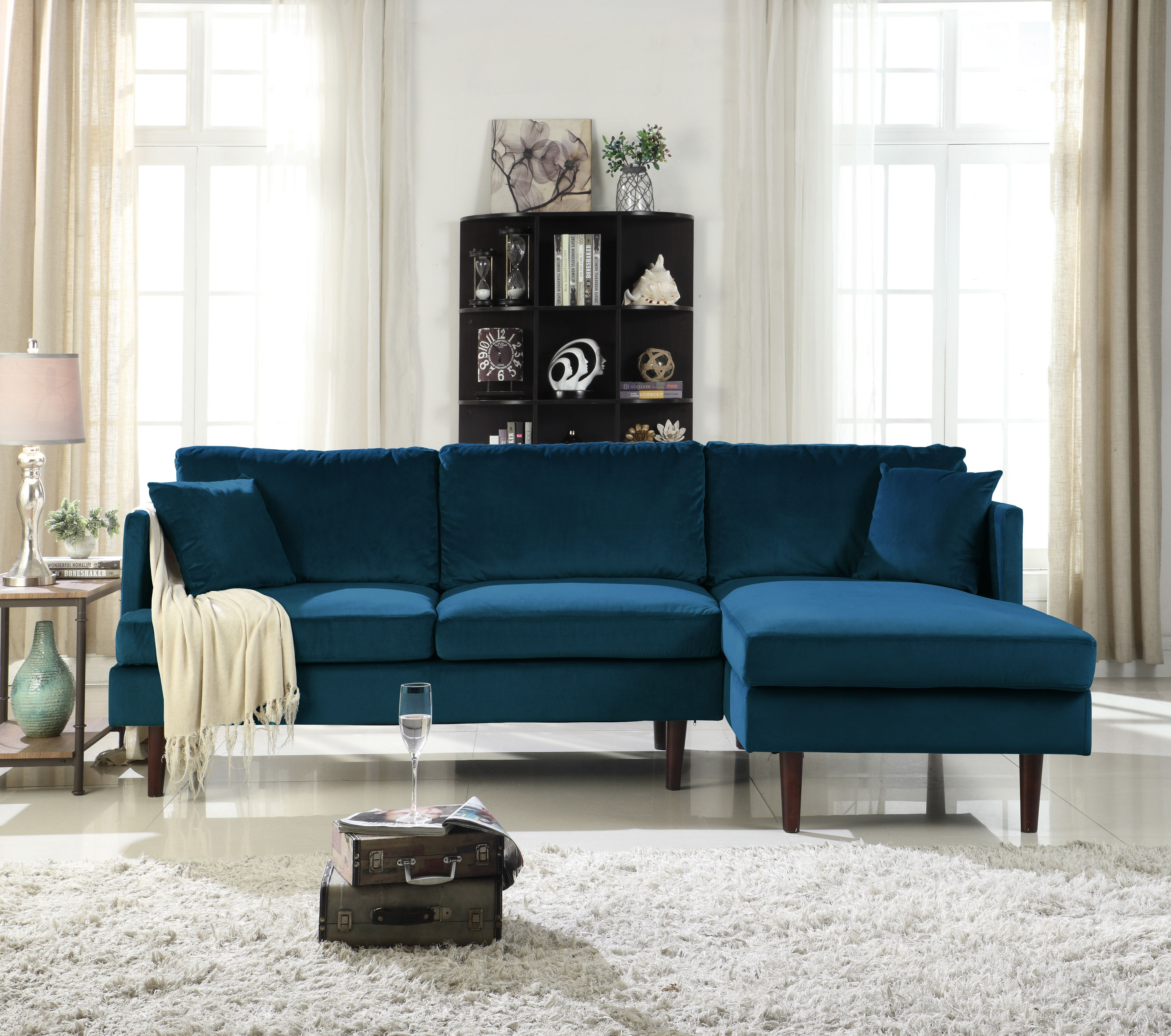 Mobilis Mid Century Modern Brush Microfiber L Shape Sofa With Extra Wide Chaise Lounge Dark Blue Walmart Com Blue Sofas Living Room Sectional Sofa With Chaise Microfiber Sectional Sofa