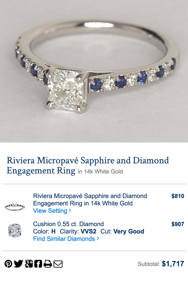 The perfect amount of sapphire accents...and it all came in under $2000. Click to create yours now!