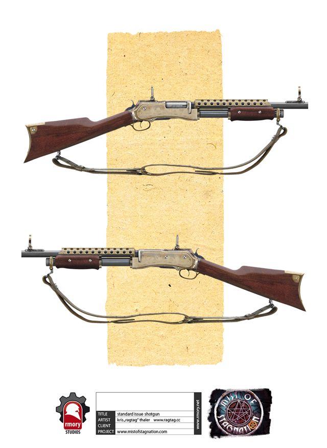 steampunk shotgun concept weapons