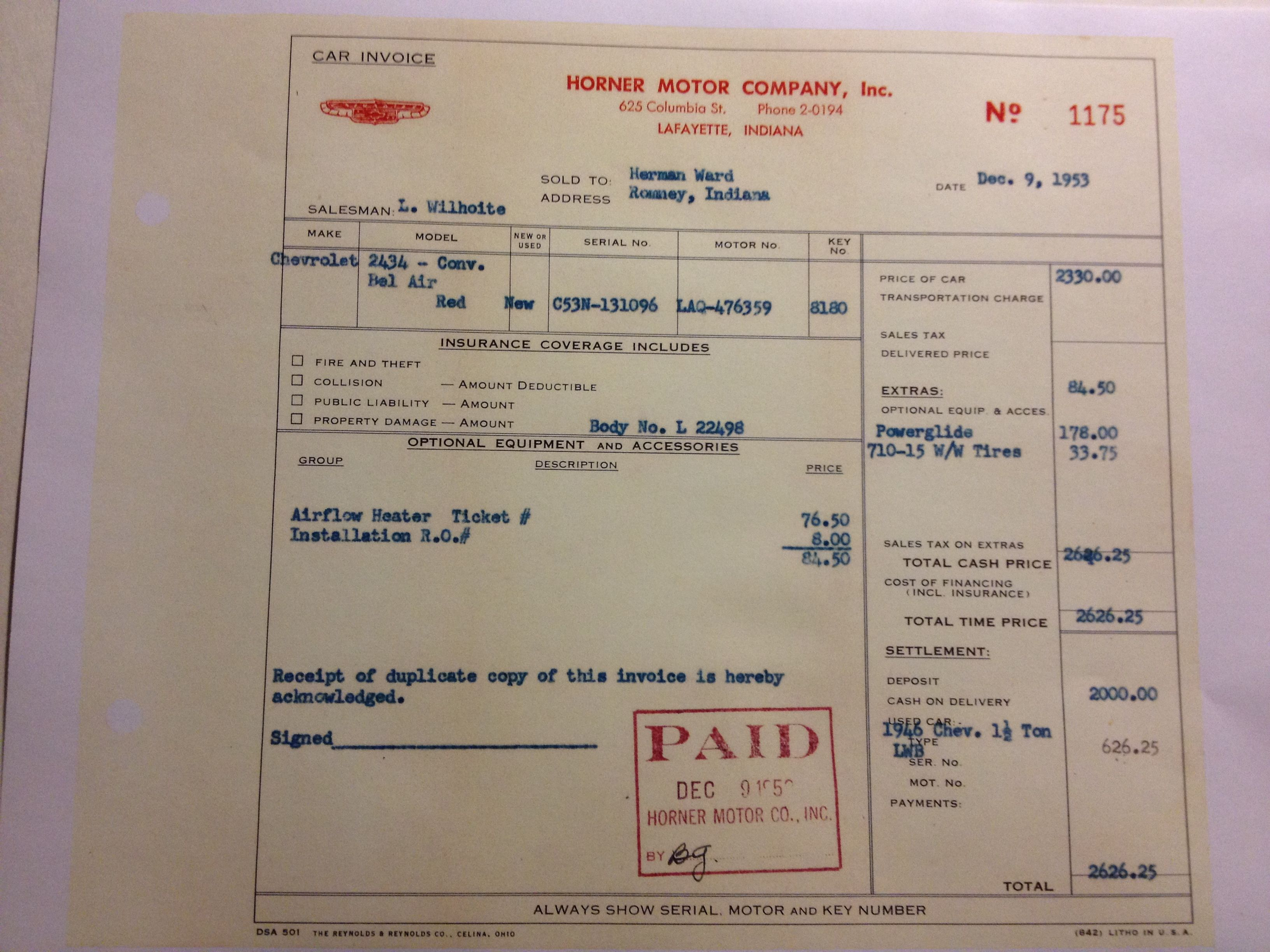 Invoice for my 1953 Chevy
