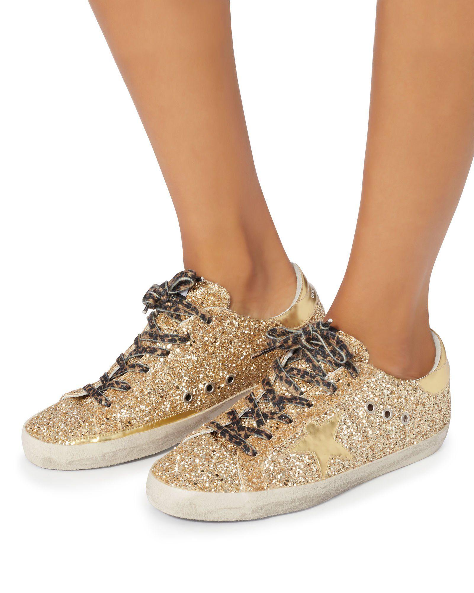 Superstar Leopard Lace Gold Glitter Sneakers Glitter Sneakers Sneakers Fashion Sneakers