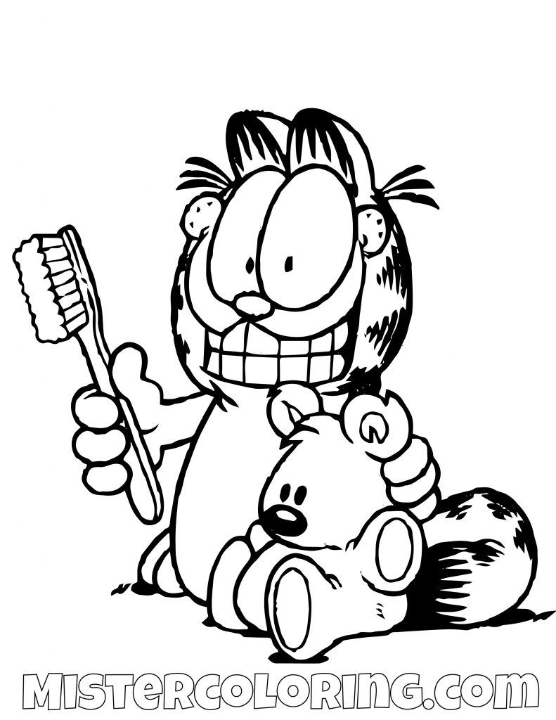 Garfield With A Toothbrush And Spooky Coloring Page Coloring