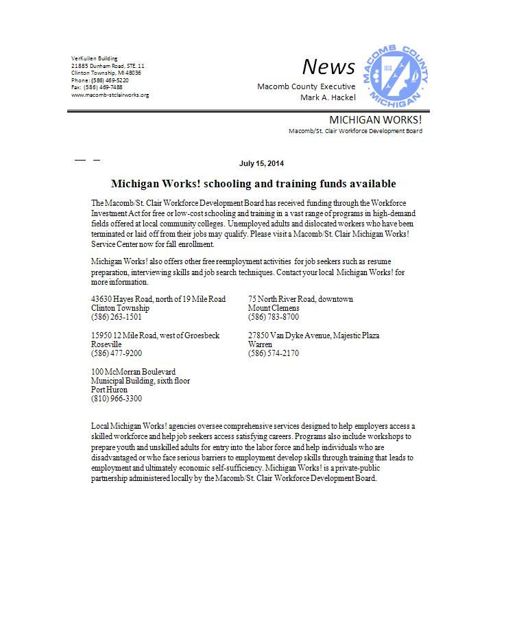 Michigan Works Resume - Brightfinance