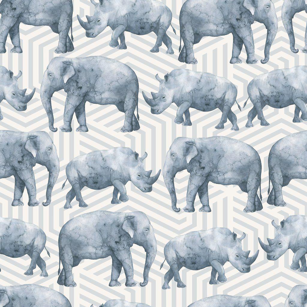 Geometric Elephant And Rhino Watercolor W1170 Geometric Elephant Watercolor Elephant Jungle Wallpaper