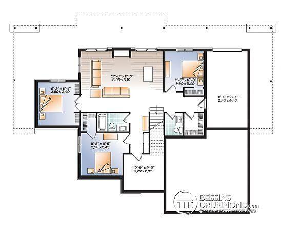 Sous-sol Maison style chalet moderne rustique, 4 chambres, grande - plans de maison moderne