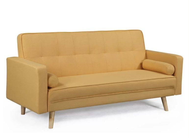 3 Seater Sofa Bed Yellow Double Size Clicclac Wood Living Room Bedroom Furniture