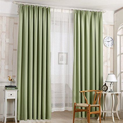 Shzons Verdunkeln Isoliert Blackout Tülle Fenster Vorhang Panels Für  Wohnzimmer Schlafzimmer, 100 X 200 Cm (2) 2 Panels:Green