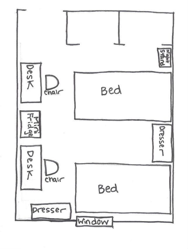 Planning out how to layout your dorm room with your roommate can help you  maximize on
