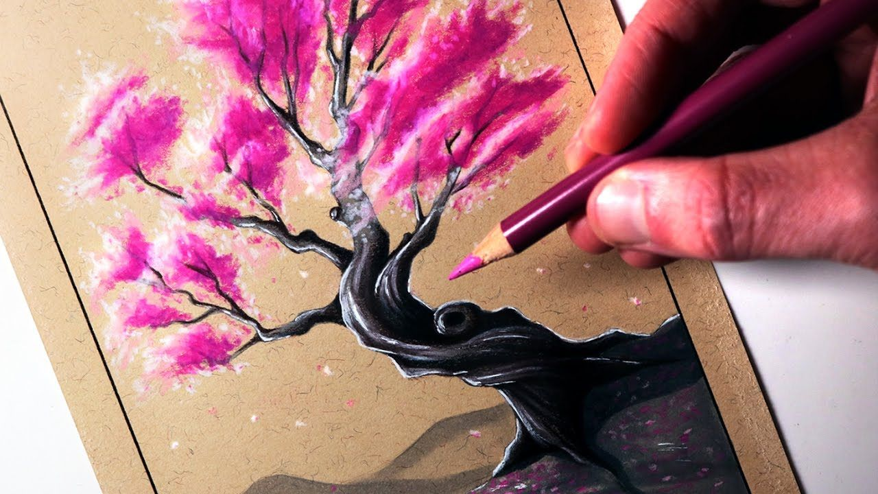 How To Draw A Cherry Tree Tree Drawings Pencil Tree Drawing Tree Sketches