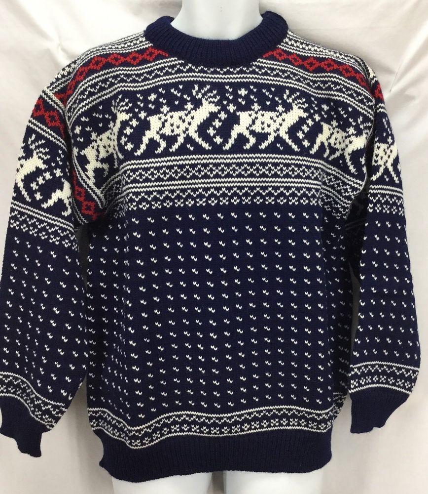 L.L. Bean Birdseye Sweater Reindeer Norway Wool Fisherman ...