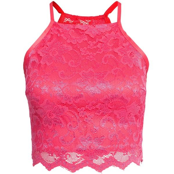 Nly One Scallop Lace Top (160 BRL) ❤ liked on Polyvore featuring tops, crop tops, pink, womens-fashion, crop top, lace top, pink lace top, short crop tops and lace crop top