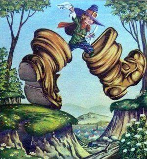 bottes de 7 lieues (Petit Poucet et le conte de Grimm Les