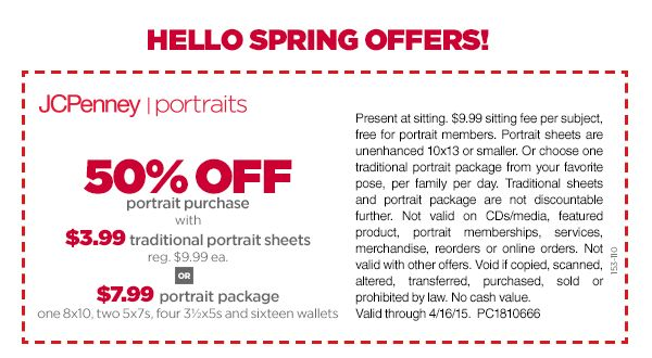 50 off your portrait purchase coupon jcpenney portraits picture